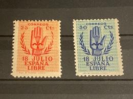 España Nº 852T, 853T. Año 1938. - 1931-50 Neufs