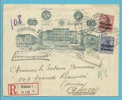 "BZ 3+4 Op Geillustreerde ""HOTEL JOSEPH"" Brief Aangetekend Stempel BRUSSEL - Guerre 14-18"