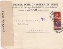 1919: Zürich Nach Dresden, Unter Kriegsrecht Geöffnet - Schweiz