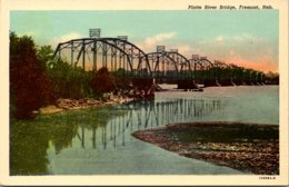 Nebraska Fremont Platte River Bridge Curteich - Fremont