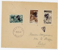 MAROC ENV 1943 RABAT TYPE HOROPLAN + T + TIMBRES N°174 , 182 ET 193 OBLIT T AYANT SERVI DE TAXE LETTRE LOCALE - Maroc (1891-1956)