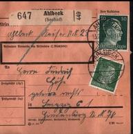 ! 1943 Paketkarte Deutsches Reich, Ahlbeck, Usedom, Zusammendrucke Hindenburg - Briefe U. Dokumente