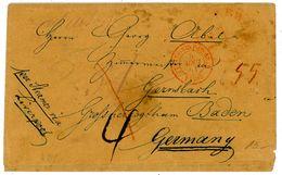 1851 Transatlantikbrief USA - Gernsbach / Ghzgt Baden über Liverpool Und Frankreich - Baden