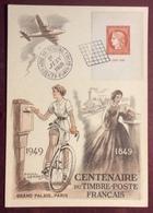 CM156-6 Cérès De Barre 841 Centenaire Du Timbre Poste Français 1/6/1949 Paris Carte Maximum Raoul Serres Grand Palais - Cartes-Maximum