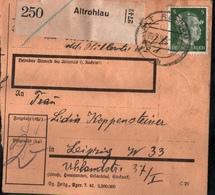 ! 1943 Paketkarte Deutsches Reich, Altrohlau, Sudetenland, Nach Leipzig, Hindenburg Zusammendrucke - Brieven En Documenten