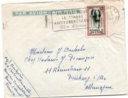 Abidjan 1960 - Flamme Timbre Antituberculeux - Lettre Cover Brief - Costa De Marfil (1960-...)