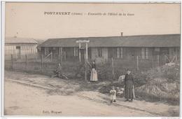 PONTAVERT ENSEMBLE DE L'HOTEL ET CAFE DE LA GARE ANIMEE TBE - Autres Communes