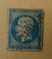 RDB. TI. 10.15. Napoléon III. 20 C Bleu. Losange Gros Chiffre 3169 - 1853-1860 Napoleone III