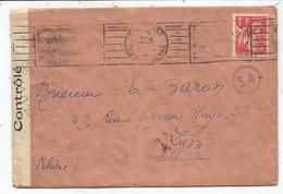 IRIS 1FR ROUGE LETTRE MEC GRATTEE TOULOUSE 1941 POUR LYON CENSURE QA2 - WW II