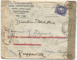 CERES 2FR50 LETTRE SAINT RAPHAEL VAR 1941 POUR POINTE NOIRE REEXP BRAZZAVILLE + CENSURE - Marcophilie (Lettres)