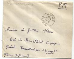 LETTRE FM POSTE NAVALE 31.5.1940 MENTION AU DOS PAQUEBOT MEXIQUE - Postmark Collection (Covers)