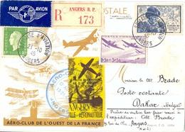 SALON D'AVIATION ANGERS 21-10-45 AÉRO-CLUB DE L'OUEST DE LA FRANCE – RECOMMANDÉ => DAKAR SENEGAL - Marcophilie (Lettres)