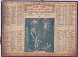 Calendrier 1927 ALMANACH Des Postes Et DesTélégraphes / SURPRISE ET JOIE D'ENFANT (Basse-cour) - Grand Format : 1921-40