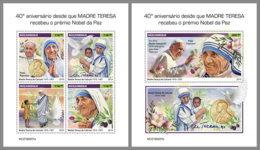 MOZAMBIQUE 2019 MNH Mother Teresa Mutter Teresa Mere Teresa Nobel Prize M/S+S/S - IMPERFORATED - DH1919 - Mère Teresa