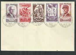 """Bande Pétain """"au Profit Du Secours National Sur Enveloppe De Prez En Pail (Mayenne) - 1941-42 Pétain"""