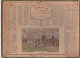 Calendrier 1926 ALMANACH Des Postes Et DesTélégraphes / RENTREE AU CHENIL (Chasse à Courre) - Grand Format : 1921-40