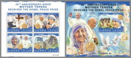 SIERRA LEONE 2019 MNH Mother Teresa Nobel Prize Winner Nobelpreis Prix Nobel M/S+S/S - IMPERFORATED - DH1951 - Mère Teresa
