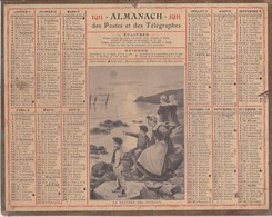 Calendrier 1911 ALMANACH Des Postes Et DesTélégraphes / LA RENTREE DES BATEAUX (Femmes Et Enfants) - Calendriers