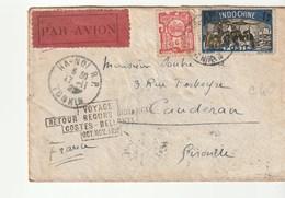 """Lettre  Indochine / Tonkin / Hanoï Pour Bordeaux Caudéran: """"Voyage Retour Record Distance Costes Bellonte , 1929"""" - Indochina (1889-1945)"""