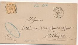 1875 CROTONE DC + NUMERALE A PUNTI + SCANDALE CORSIVO  DI COLLETTORIA RURALE  IN AZZURRO - 1861-78 Vittorio Emanuele II
