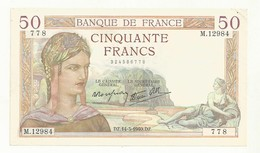 BILLET 50 F CERES  DZ.14-3-1940.DZ.  2 TROUS EPINGLE MAIS CRAQUANT  BEL ASPECT TTB+ - 1871-1952 Anciens Francs Circulés Au XXème