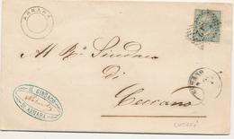 187 CECCANO FROSINONE DC + NUMERALE A PUNTI + ARNARA DOPPIO CERCHIO SENZA DATA  DI COLLETTORIA RURALE - 1861-78 Vittorio Emanuele II