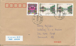 P. R. Of China Cover Sent Air Mail To Denmark 14-7-2002 Topic Stamps - 1949 - ... People's Republic
