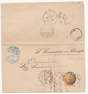 1882 FOSSOMBRONE PESARO CERCHIO + NUMERALE A SBARRE + FRATTE ROSA CERCHIO PICCOLO  DI COLLETTORIA RURALE  +TIMBRO ARALDI - 1878-00 Umberto I