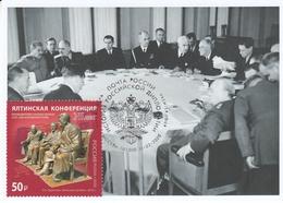 2822 Mih 2600 Russia 02 2020 Maximum Card 4 1945 Yalta Conference Stalin Roosevelt Churchill WW II World War II - 1992-.... Federación