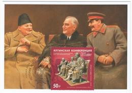 2822 Mih 2600 Russia 02 2020 Maximum Card 7 1945 Yalta Conference Stalin Roosevelt Churchill WW II World War II - Sir Winston Churchill