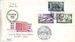 Turquie - Lettre FDC De 1961 - Oblit Ankara - Trains - Ponts - Agriculture - 1921-... République