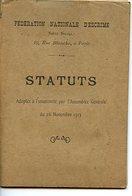 FASCICULE STATUTS DE LA FEDERATION NATIONALE D'ESCRIME 1913 - Fencing
