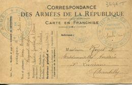 N°3646 T -cachet III è Armée -secteur Forestier De Senlis- - WW I