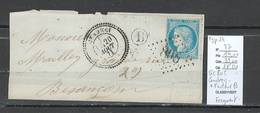 France -Fragment Avec Yvert 37 - Gc 805 - Cendrey - Doubs - + Type 24 Et Cachet De Facteur - Marcophilie (Timbres Détachés)