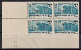 TIMBRE MINISTERE DES PTT N° 424 NEUF **/* En BLOC De 4 Avec COIN DATÉ De 1939 (COTE 250€) - Coins Datés