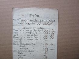 Extra Old Netherlands / Dutch LATVIA - RIGA Menu / Price List Y1740 - Documents Historiques