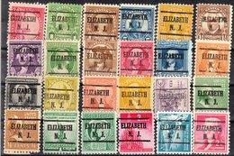 USA Precancel Vorausentwertung Preo, Locals New Jersey, Elizabeth 225, 24 Diff. Perf. 1 X 11x11, 23 X 11x10 1/2 - Vereinigte Staaten