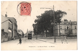 CPA 93 - PIERREFITTE (Seine Saint Denis) - La Rue De Paris. La Mairie (petite Animation, Tramway) - Pierrefitte Sur Seine