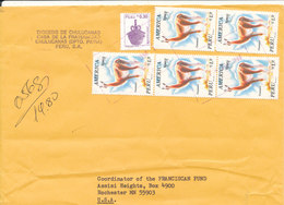 Peru Registered Cover Sent To Denmark 7-11-1998 Topic Stamps On Front And Backside Of The Cover - Peru