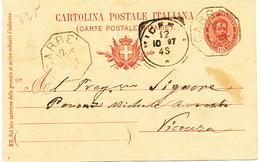 1897 CARRE' VICENZA  OTTAGONALE DI COLLETTORIA RURALE - 1878-00 Umberto I