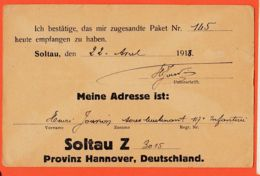 Tues048 Guerre-Oorlog 14-18 Stalag SOLTAU Hannover Z -3015 Paket 92  22-04-1918 Henri JOUVION 117e Infanterie - War 1914-18