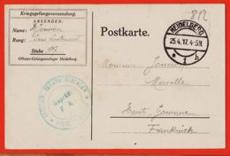 Tues050 HEIDELBERG 15-04-1917 Offizier-Gefangenenlager à S/officier Hervé JOUVION  Stube 117 Prisonnier Guerre CpaWW1 - Heidelberg