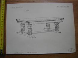 Planche Estampe MEUBLE MOBEL FURNITURE MOBILI Table A Patins NF - Planches & Plans Techniques