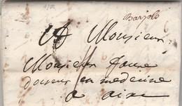 Lettre 7 Pages Marque Manuscrite BARJOLS Var 30/5/1746 à Aix Bouches Du Rhône - Marcofilie (Brieven)