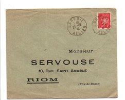 PETAIN SUR LETTRE DE EBREUIL ALLIER 1941 - Postmark Collection (Covers)