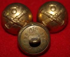 Lot De 3 Boutons Artillerie Dia 20mm - Boutons