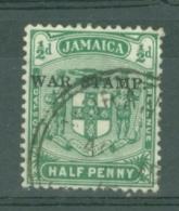 Jamaica: 1916   War Tax OVPT    SG68e    ½d   Blue-green    Used - Jamaica (...-1961)