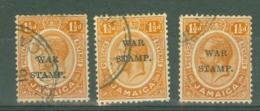 Jamaica: 1916   War Tax OVPT    SG71    1½d   Used (x3) - Jamaica (...-1961)