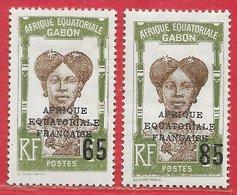 Gabon (Afrique équatoriale Française) N°108 65 Sur 1F & 109 85 Sur 1F 1925 * - Gabon (1886-1936)