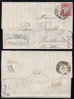 """D. R. - HUFEISEN STEMPEL """"STRASSBURG I ELS BHF"""" - BAHNHOF /1874 BRIEF NACH  MULHAUSEN  (ref 8116) - Allemagne"""